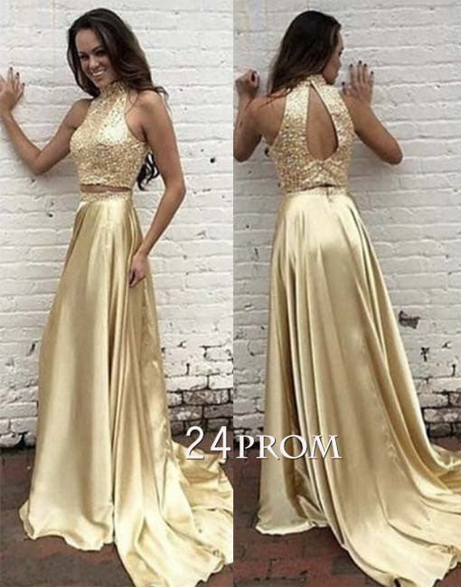 Unique sequin two pieces gold long prom dress, gold evening dress