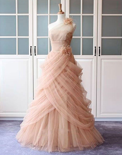 Unique pink tulle long prom dress, pink sweet 16 dress