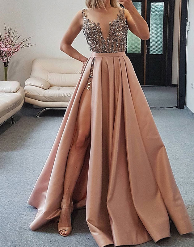 Champagne satin sequin long prom dress, champagne evening dress
