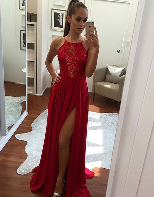 Red lace long prom dress.red evening dress