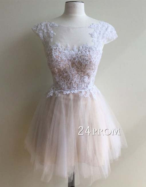 A-line round neck tulle lace short prom dress, cute homecoming dress