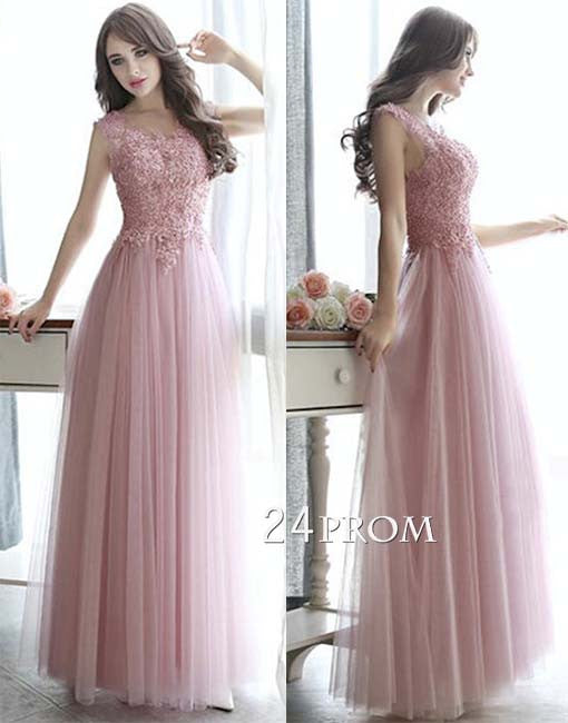 Custom made round neck tulle lace long prom dress