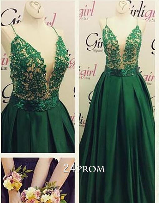 Green v neck lace long prom dress, evening dress
