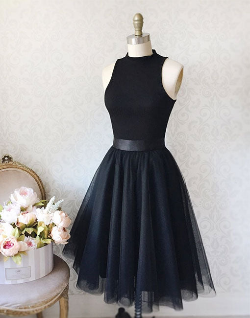 Simple black tulle short prom dress, black evening dress