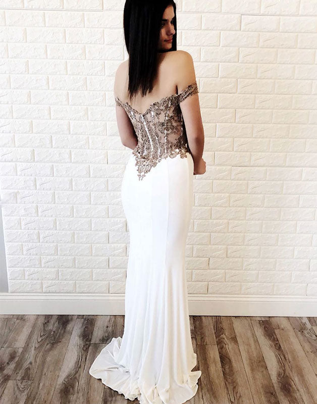 White sweetheart chiffon lace mermaid long prom dress, evening dress