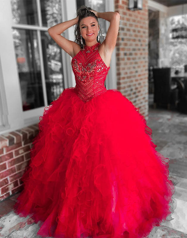 Unique red tulle beads tulle long prom dress, red tulle evening dress