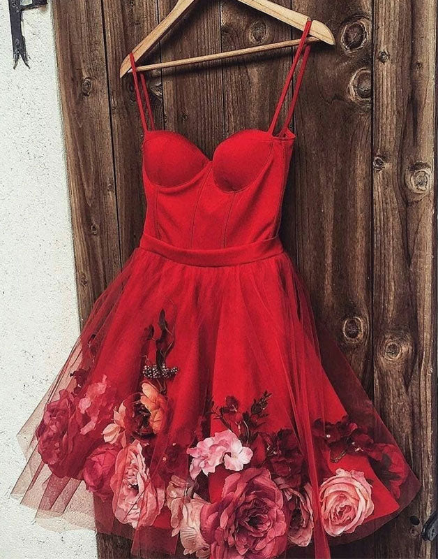 Cute burgundy tulle short prom dress, burgundy homecoming dress
