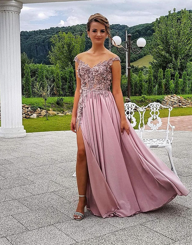 Pink v neck lace chiffon long prom dress, pink evening dress