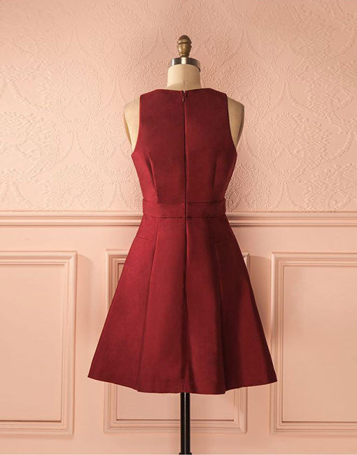 simple burgundy short prom dress, cute homecoming dress
