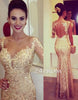 Custom made sweetheart sequin gold long prom dress, mermaid evening dress