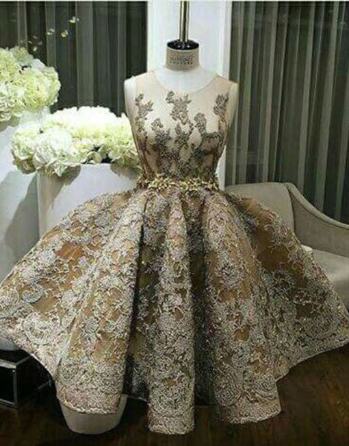 Custom made ball gown lace short prom dress, cute homecoming dress