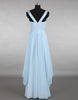 Blue A-line v neck chiffon long prom dress, bridesmaid dress