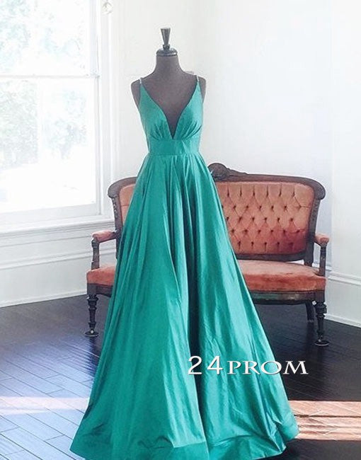 Simple V Neck Green Long Prom Gown, Evening Dresses