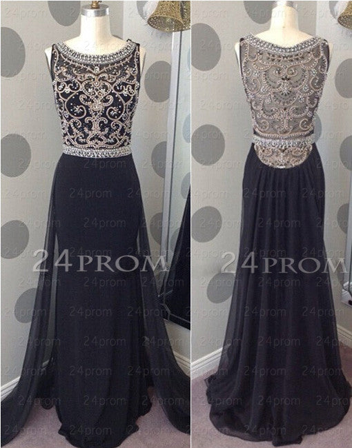 Amazing A-line Chiffon Long Black Prom Dresses, Formal Dresses