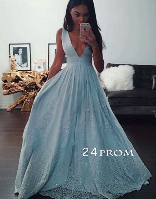 d0d2104b99 Blue v neck lace long prom dress
