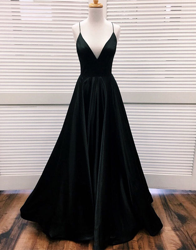 Simple v neck black long prom dress, black evening dress