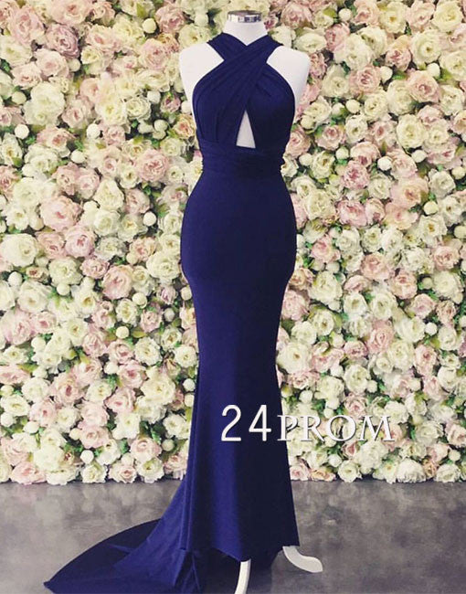 Simple blue mermaid long prom dress, evening dress