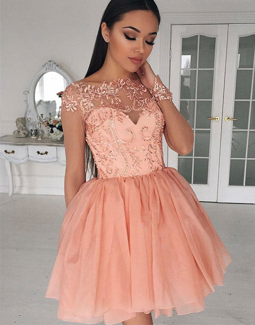 Cute tulle lace applique short prom dress, cute homecoming dress