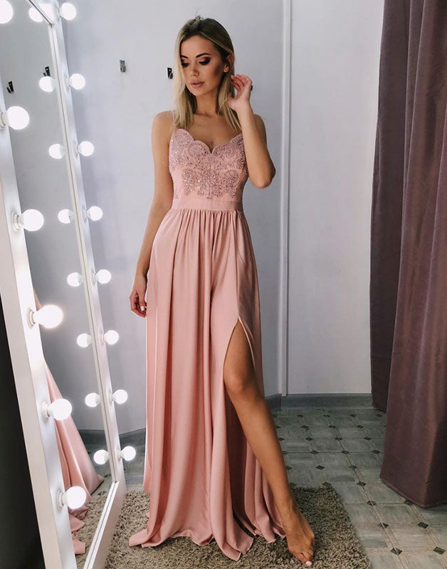 Pink sweetheart lace long prom dress, pink evening dress