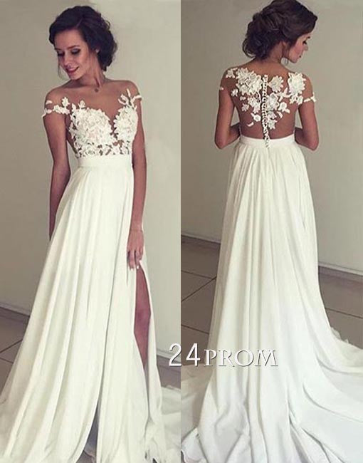 ivory chiffon lace round neck long prom dress, evening dress
