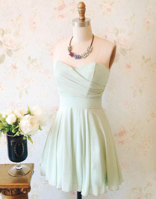 Simple sweetheart neck green short prom dress, homecoming dress