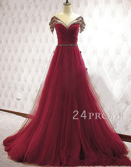 Red Tulle round neck long prom dress, formal dress