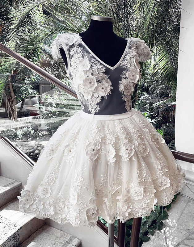 White v neck tulle lace prom dress, white homecoming dress