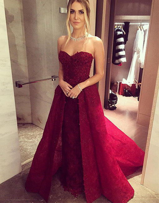 Charming Sweetheart neck lace burgundy long prom dress, formal dress