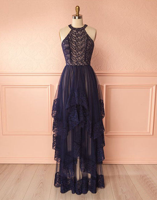 Dark blue lace tulle long prom dress, cute homecoming dress