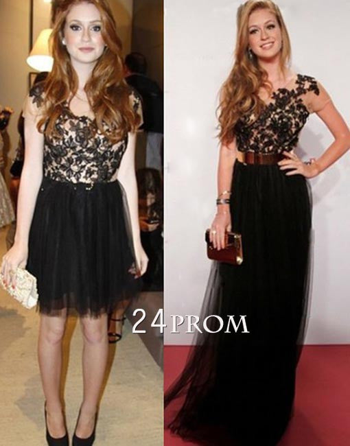 A-line tulle round neck lace 2 pieces long prom dress