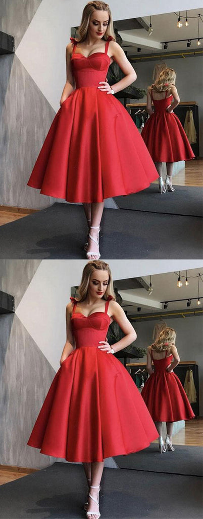 Red sweetheart short prom dress, red homecoming dress