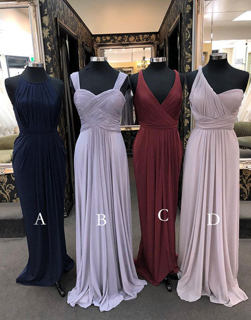Simple chiffon long prom dress. chiffon bridesmaid dress