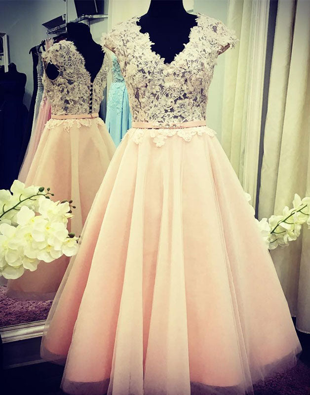 Unique v neck lace applique tulle prom dress, tulle bridesmaid dress