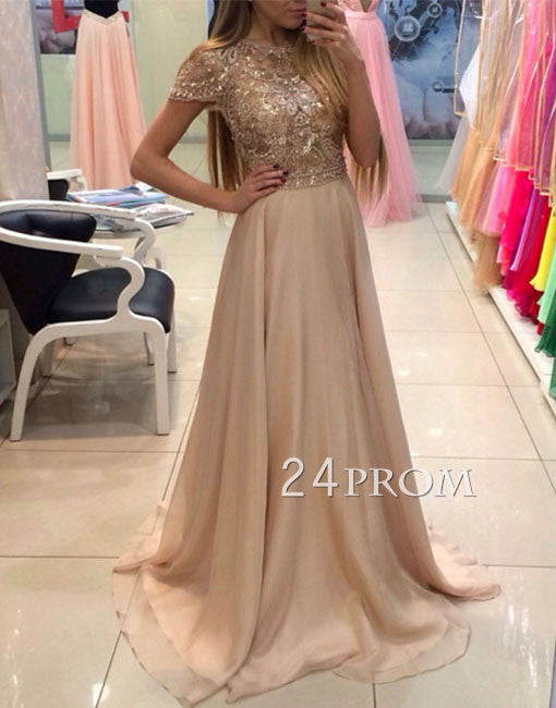 Custom made round neck chiffon sequin long champagne prom dress, formal dress