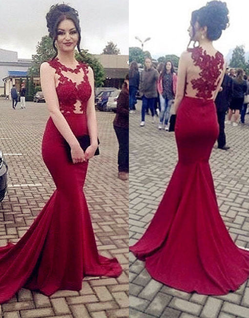 burgundy round neck lace mermaid long prom dress, evening dress