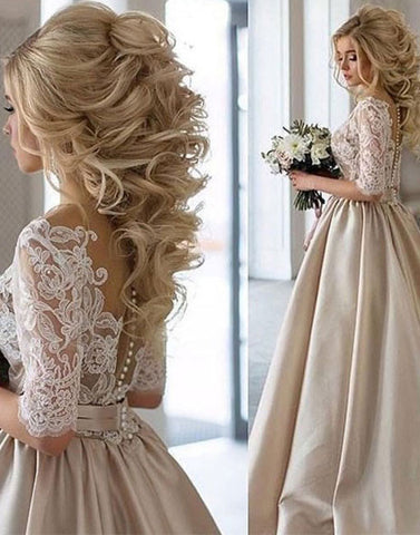 Champagne satin lace wedding dress, bridal dress