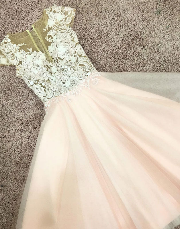 Pink round neck tulle lace short prom dress, pink tulle homecoming dress