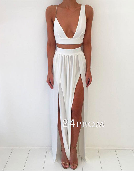 Simple white two pieces long prom dress, white evening dress