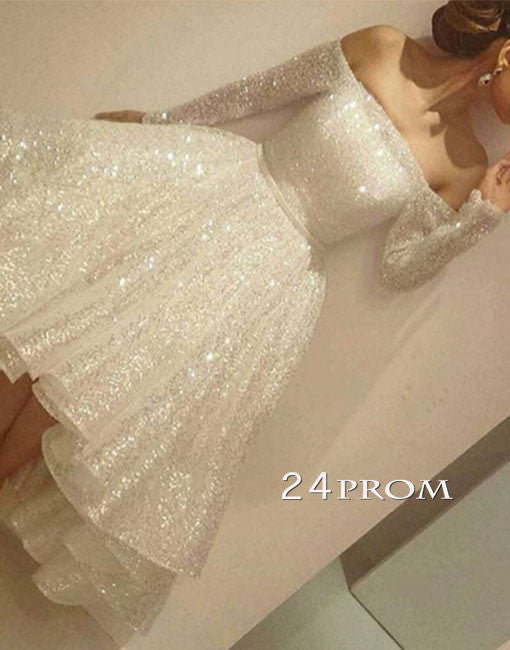white sequin short prom dress, cute homecoming dress