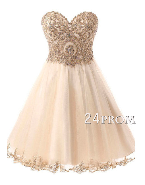 champagne sweetheart neck lace applique short prom dress, homecoming dress
