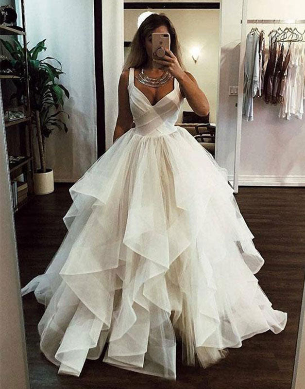 White sweetheart tulle long prom dress, white evening dress