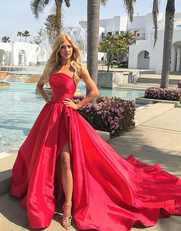 Red satin long prom dress, red satin evening dress