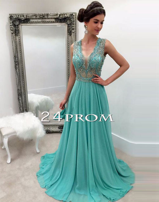 Green A-line v neck chiffon long prom dress, green evening dress