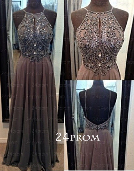 Pretty A-line Chiffon Beaded Long Prom Dresses, Evening Dresses