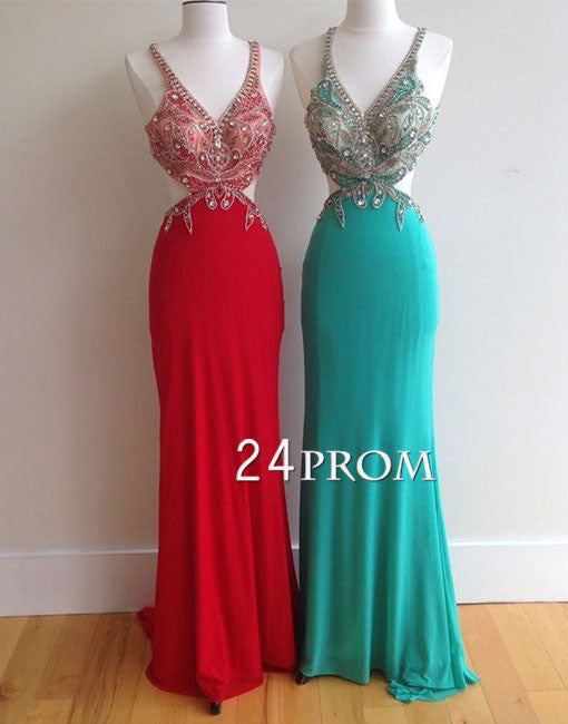 Red v neck chiffon sequin rhinestones long prom dress, evening dress