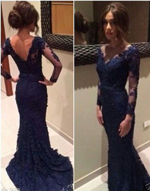 Custom Made Deep Blue Lace Long Prom Dresses