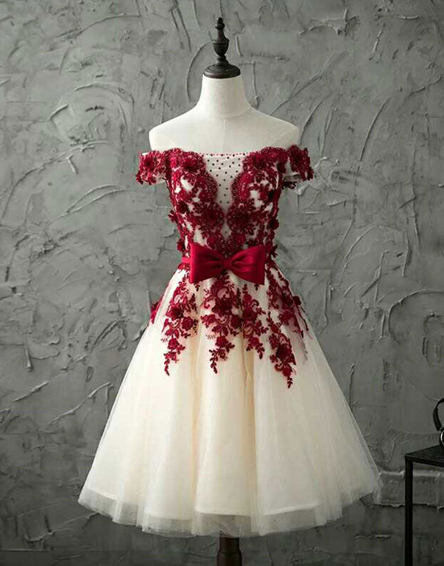 c29391285a Burgundy lace tulle short prom dress