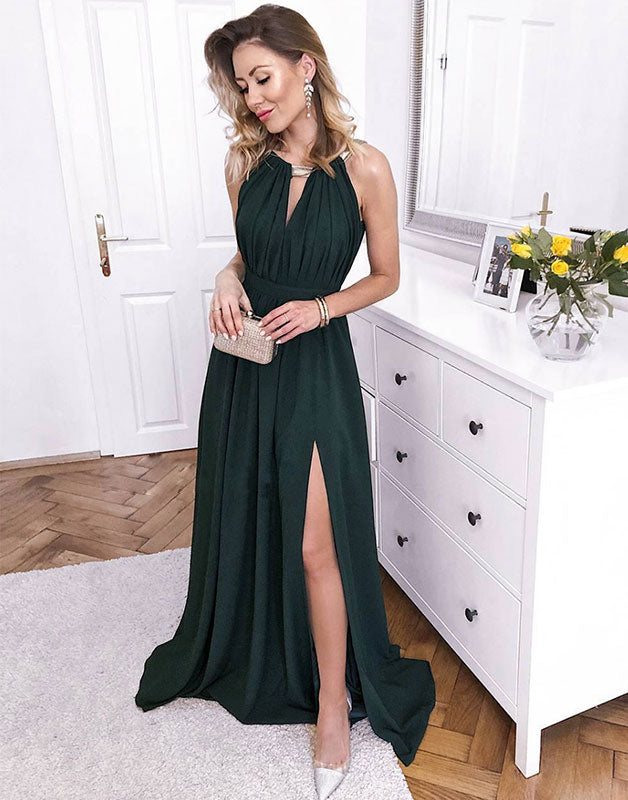 Simple green chiffon long prom dress, green bridesmaid dress