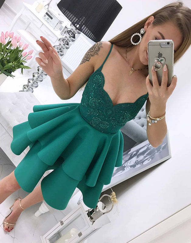 Green v neck satin lace short prom dress green homecoming dress