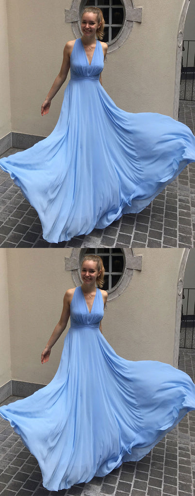 Simple blue chiffon long prom dress blue chiffon evening dress